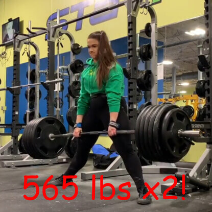Powerlifter Amanda Lawrence deadlifts 565lbsx2